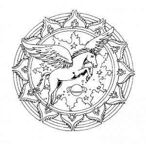 Un joli Mandala représentant une licorne