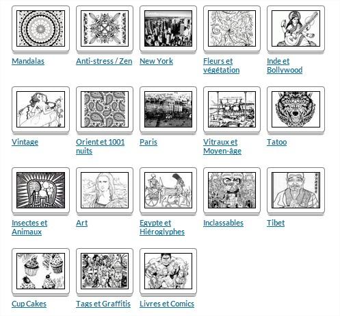 Voici un aperçu des images complexes à colorier que vous trouverez sur le site https://www.coloriages-adultes.com !