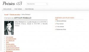 """La page """"Arthur Rimbaud"""" de notre site Poésies 123"""