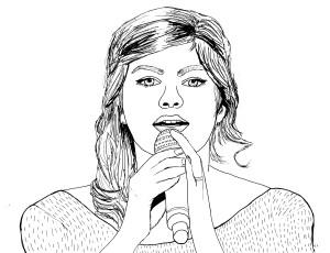 Coloriage exclusif de Louane en train de chanter