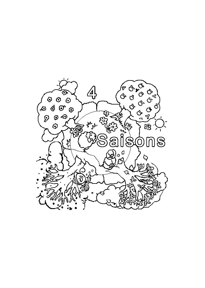 Coloriage des 4 saisons simple