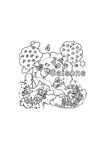 Coloriage des 4 saisons pour enfants
