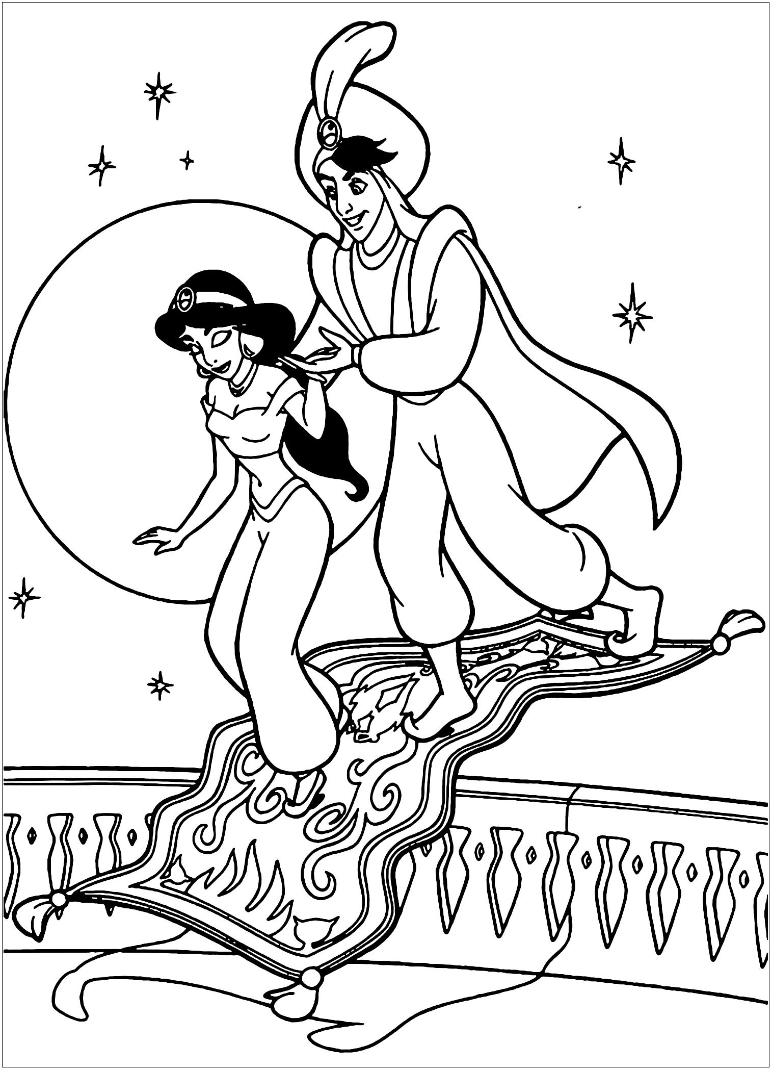 Aladdin et Jasmine, personnages Disney - Coloriage Aladdin ...