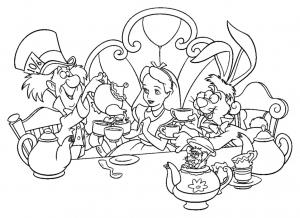 Coloriage de Alice au Pays des merveilles pour enfants