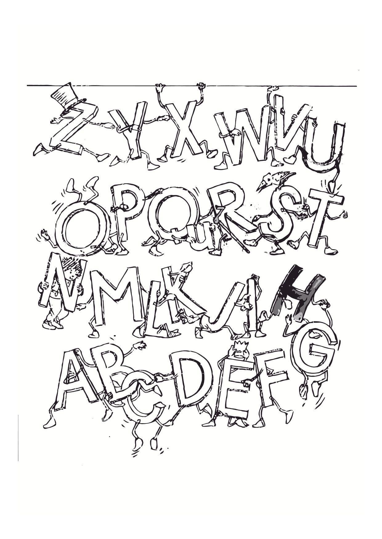 Un drôle d'alphabet avec personnages à imprimer et colorier