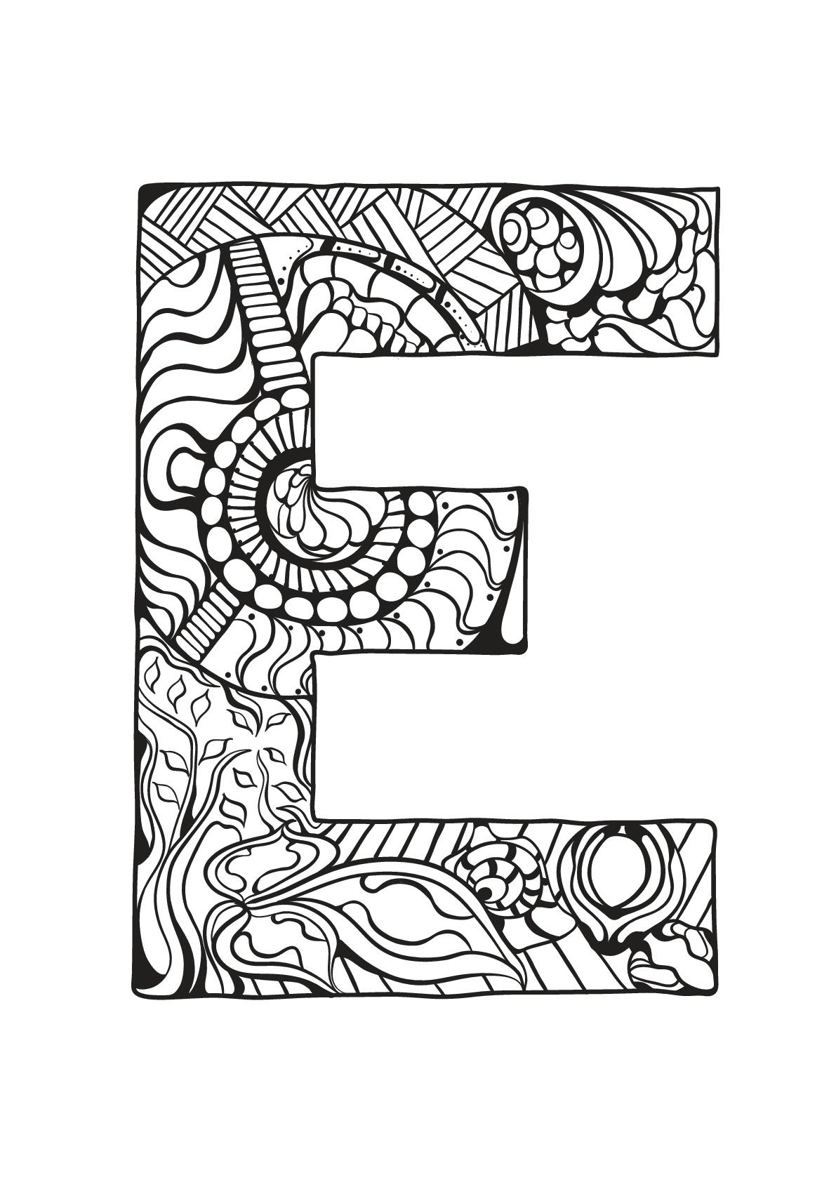 Alphabet lettre e coloriages alphabet et lettres - Alphabet coloriage ...