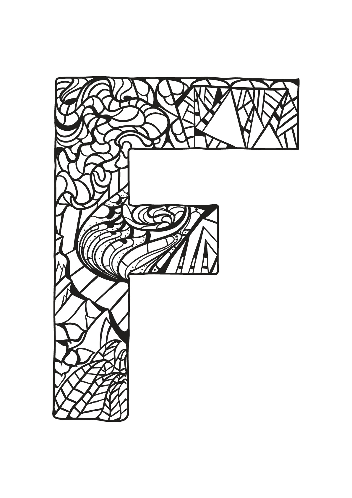 Alphabet lettre f coloriages alphabet et lettres - Dessin lettres alphabet ...