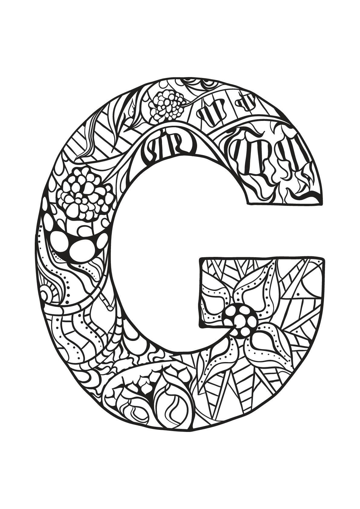 Alphabet lettre g coloriages alphabet et lettres - Coloriage de lettre ...