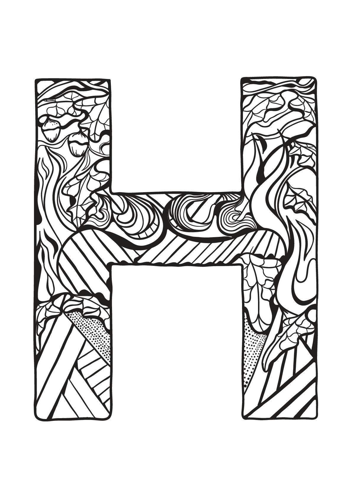 Alphabet lettre h coloriages alphabet et lettres - Alphabet coloriage ...