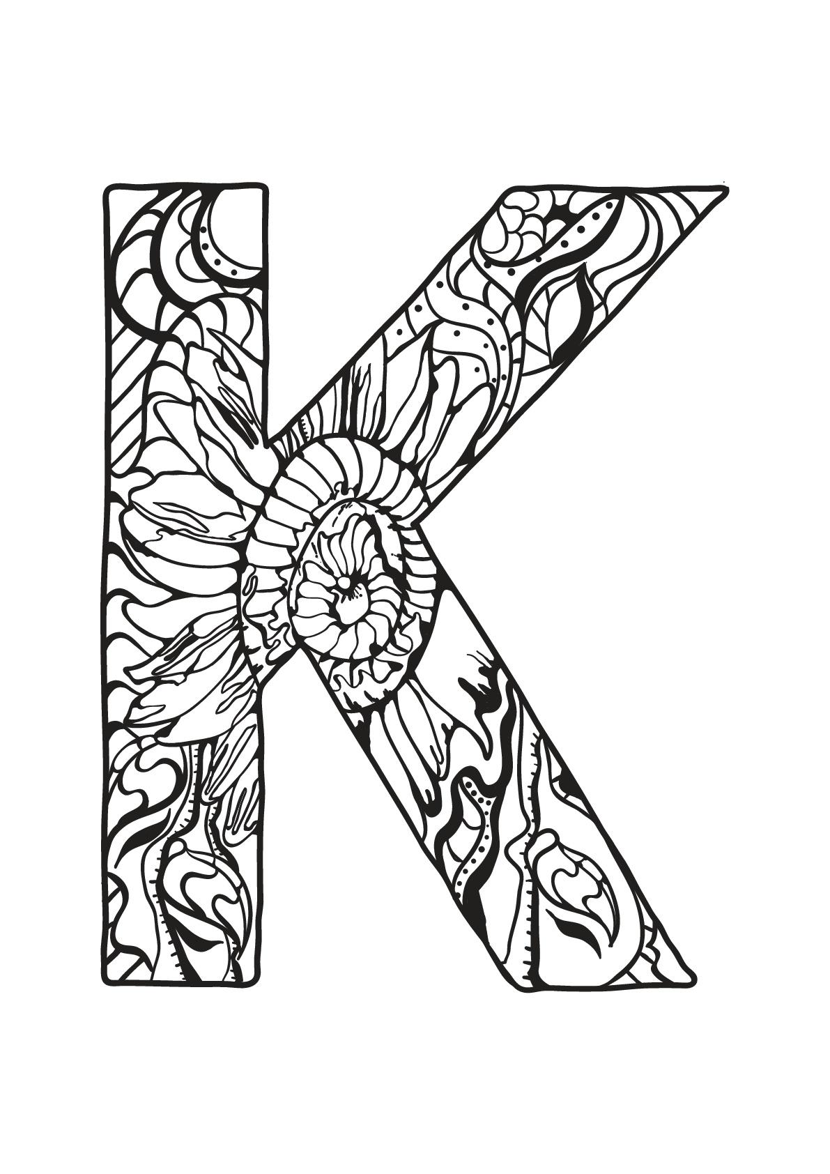 Alphabet lettre k - Coloriages alphabet et lettres
