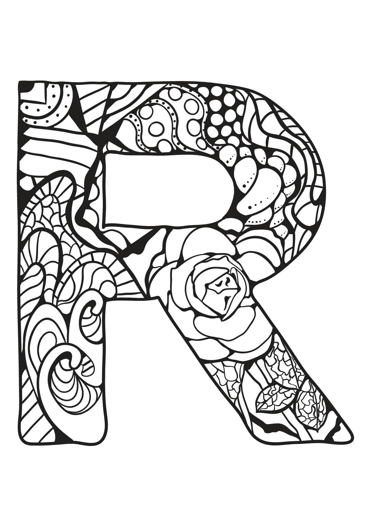 Alphabet lettre r coloriages alphabet et lettres - Dessin lettres alphabet ...