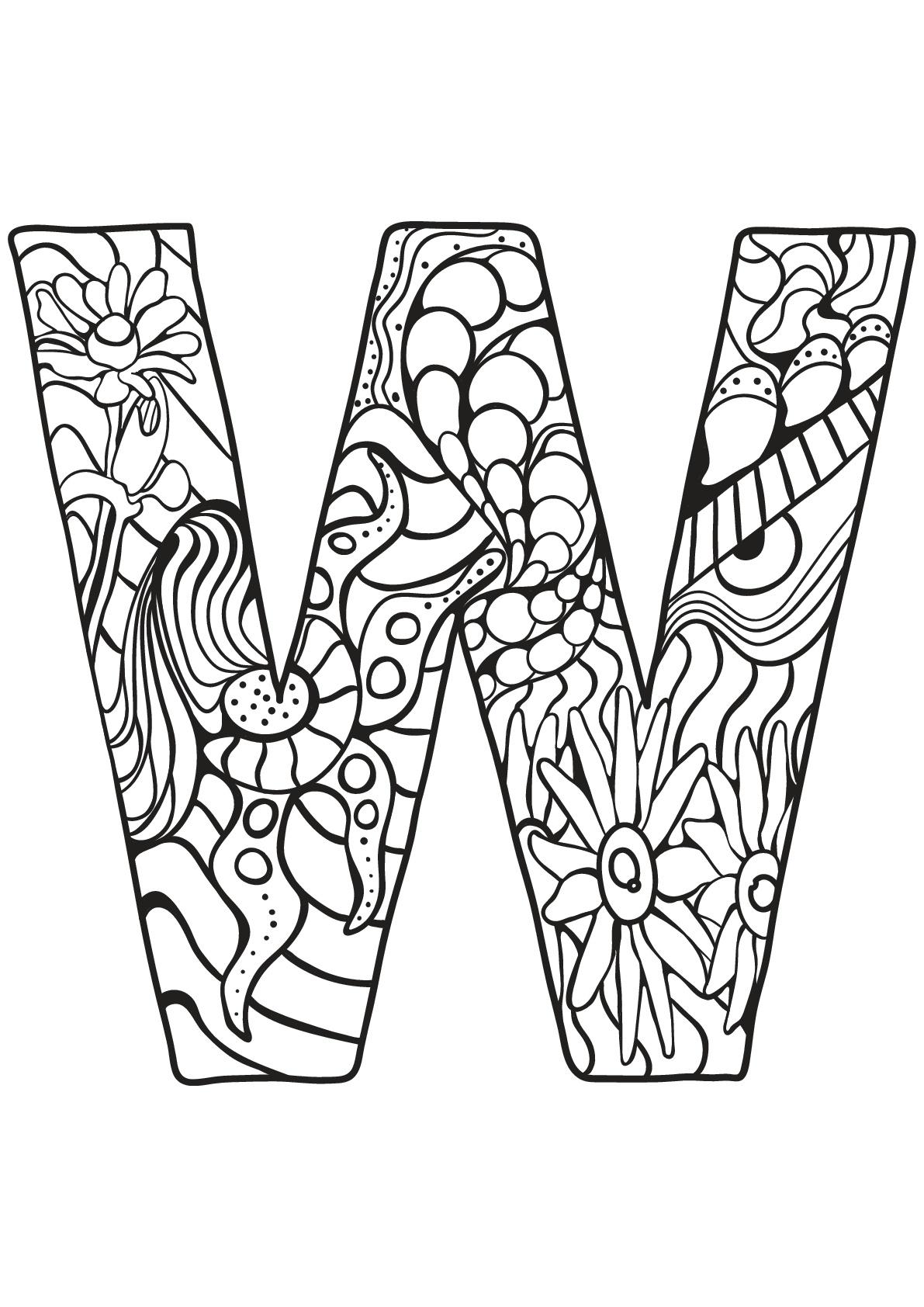 Alphabet lettre w coloriages alphabet et lettres - Alphabet coloriage ...