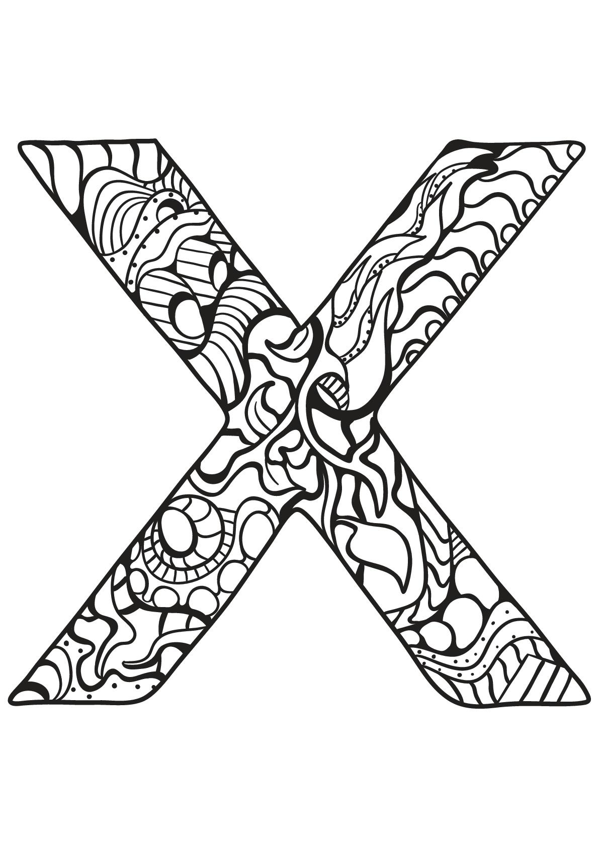 Alphabet lettre x - Coloriages alphabet et lettres