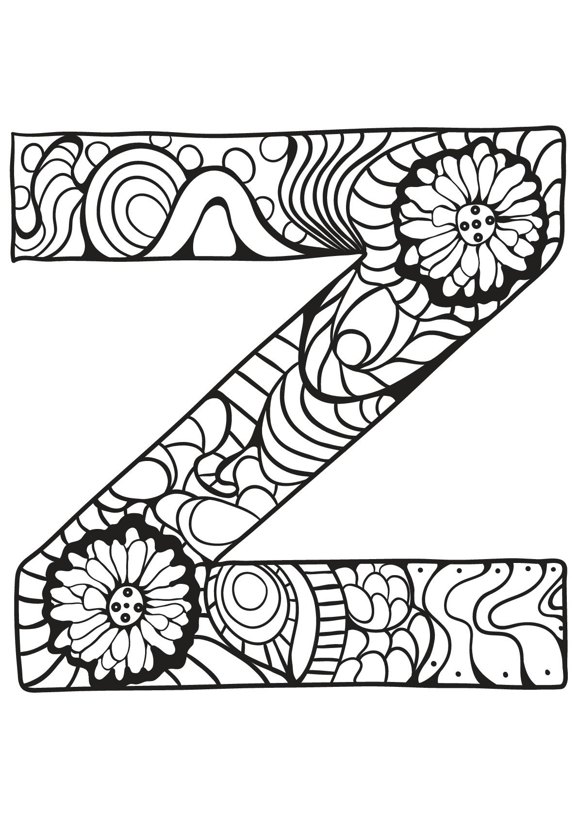 Alphabet Lettre Z Coloriages Alphabet Et Lettres