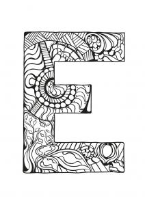 Coloriage alphabet lettre e