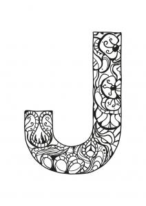 Coloriage alphabet lettre j