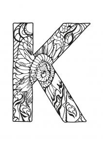 Coloriage alphabet lettre k