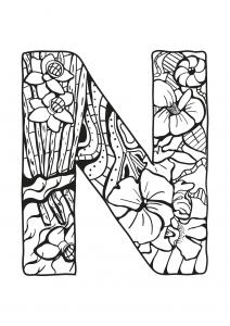 Coloriage alphabet lettre n