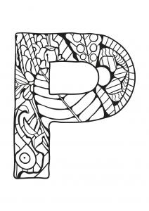 Coloriage alphabet lettre p