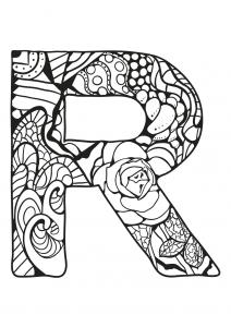 Coloriage alphabet lettre r