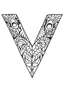 Coloriage alphabet lettre v