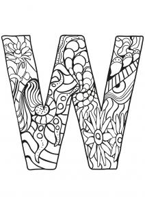 Coloriage alphabet lettre w