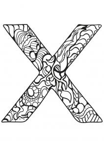 Coloriage alphabet lettre x