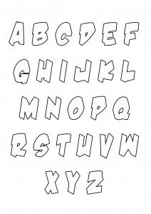 Coloriage enfant alphabet style halloween