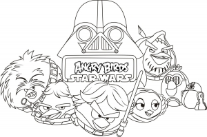 Coloriage de Angry Birds Star Wars à télécharger