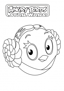 Coloriage angry birds star wars princesse leila