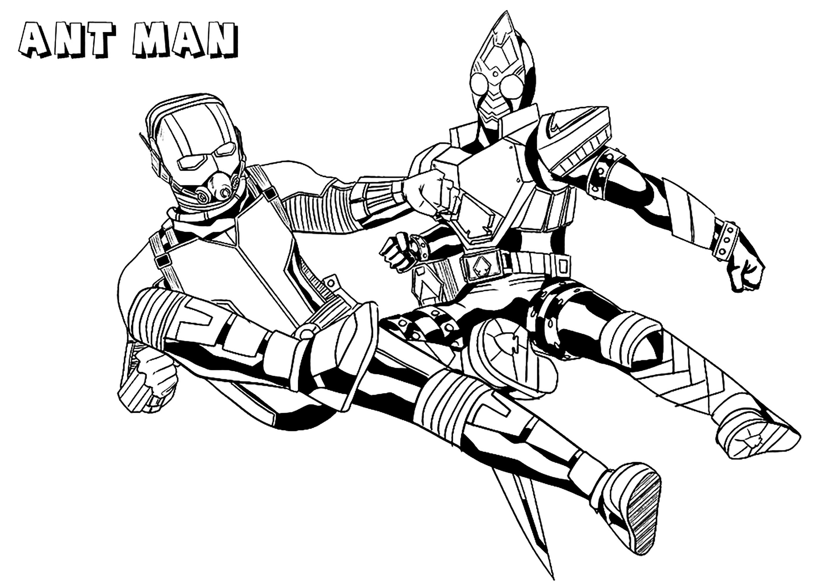 Ant man contre un ennemi - Coloriage Ant-man - Coloriages ...