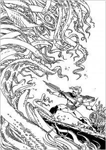 Dessin de Aquaman gratuit à imprimer et colorier