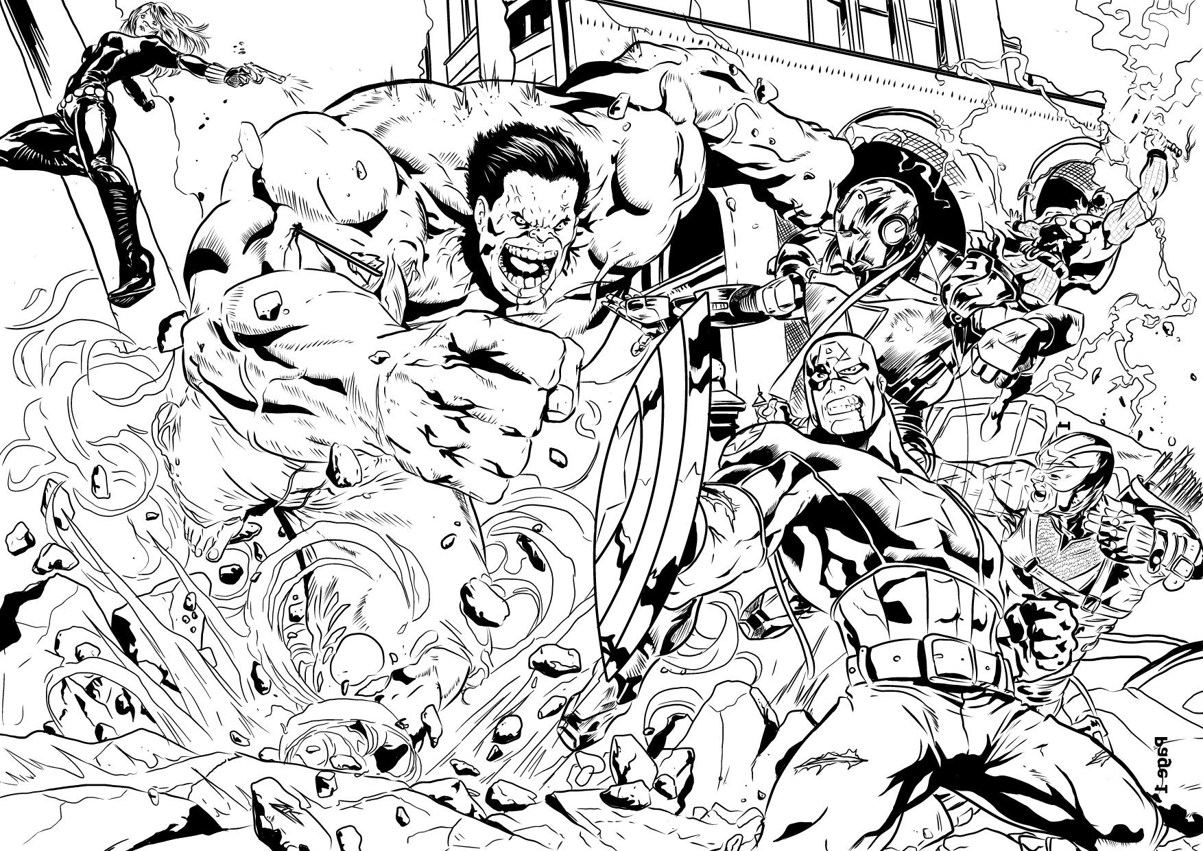 coloriages des avengers style comics - Marvel Coloriage