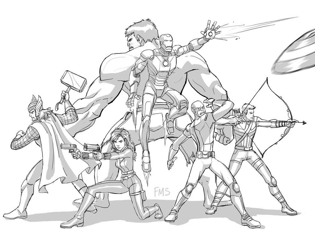 Les Avengers prêts au combat à colorier