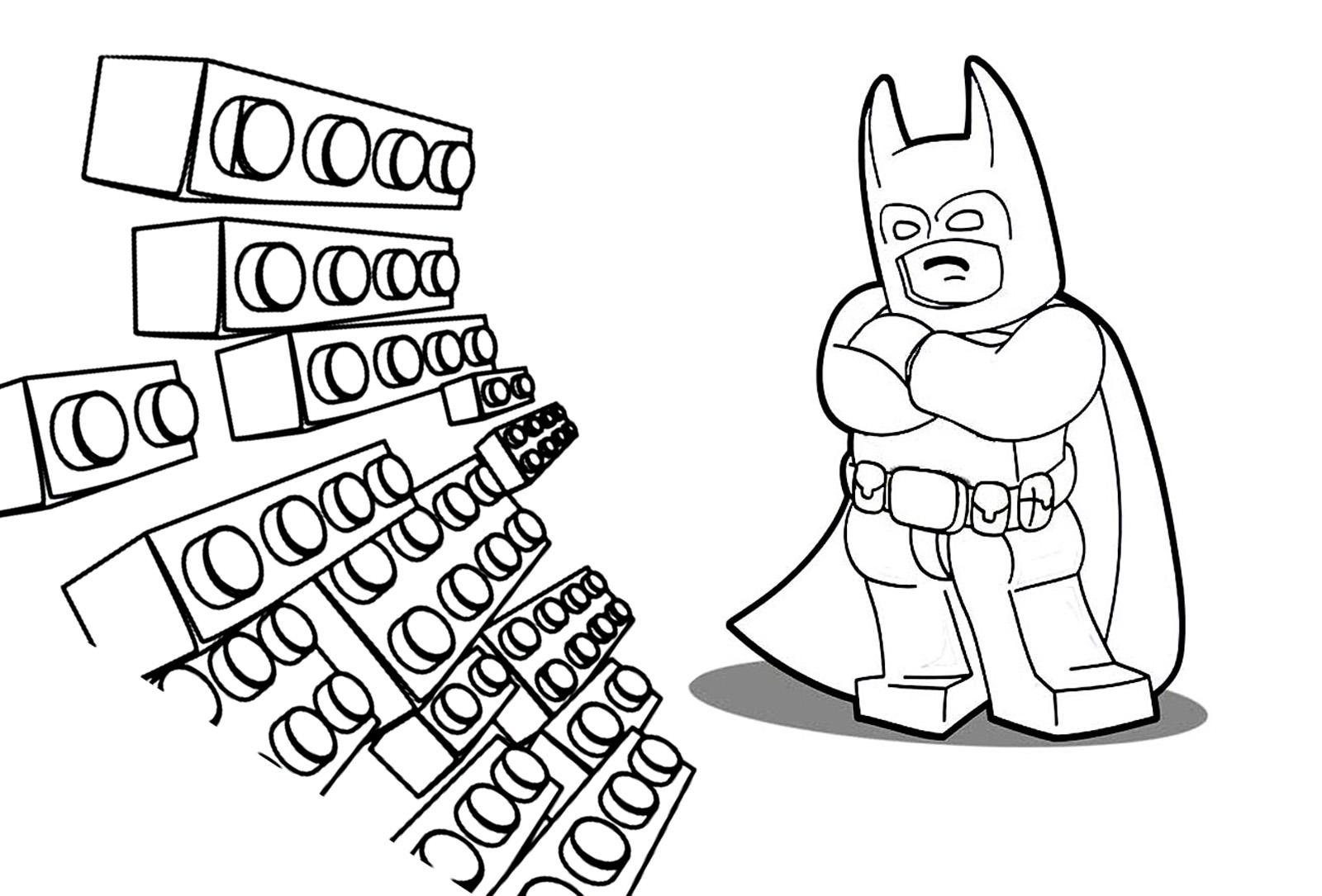 Lego Batman avec des briques, à colorier