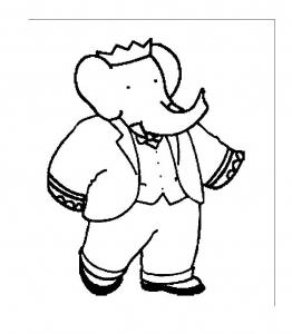 Coloriage babar roi elephant 1