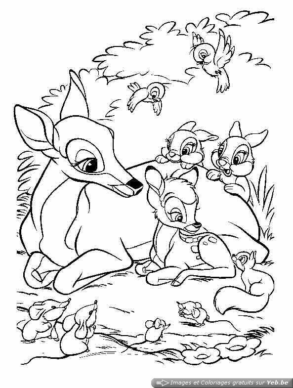 Coloriage du célèbre faon de Disney