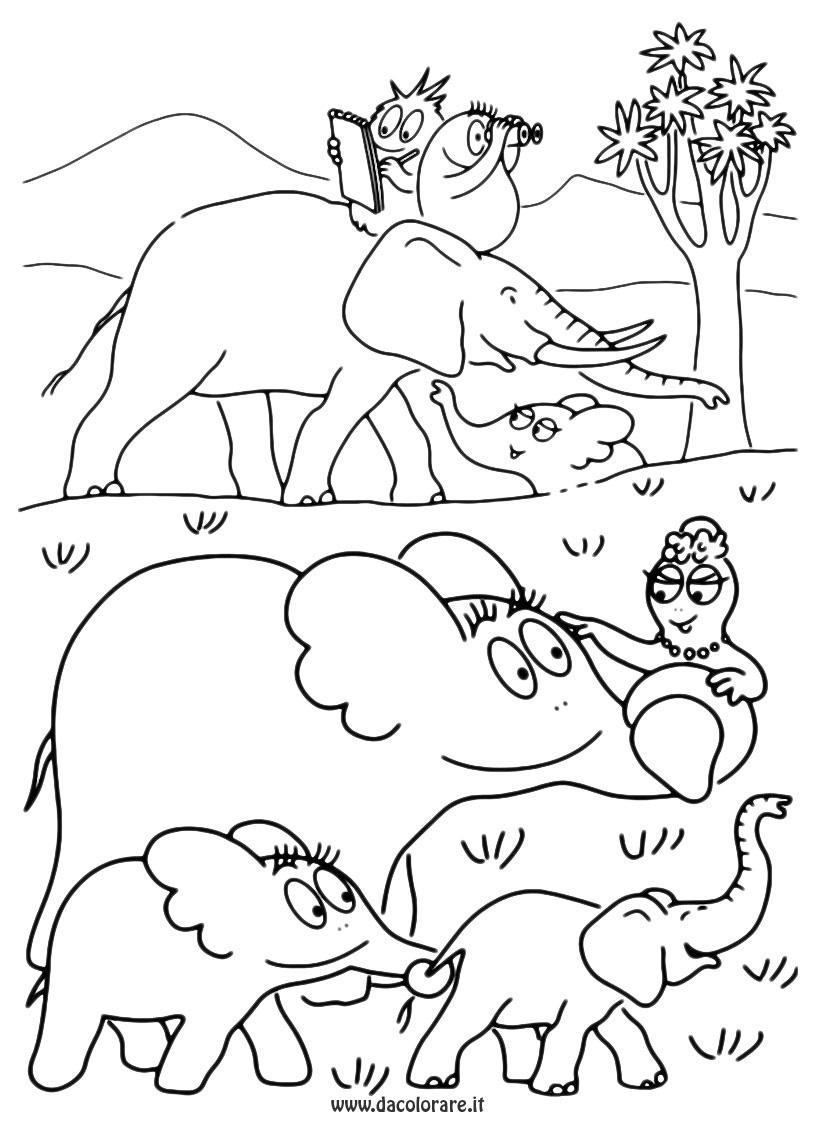 Barbapapa en éléphant à mettre en couleur
