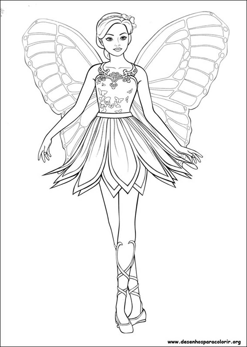Coloriage de barbie mariposa coloriages barbie coloriages pour enfants - Dessin de barbie facile ...