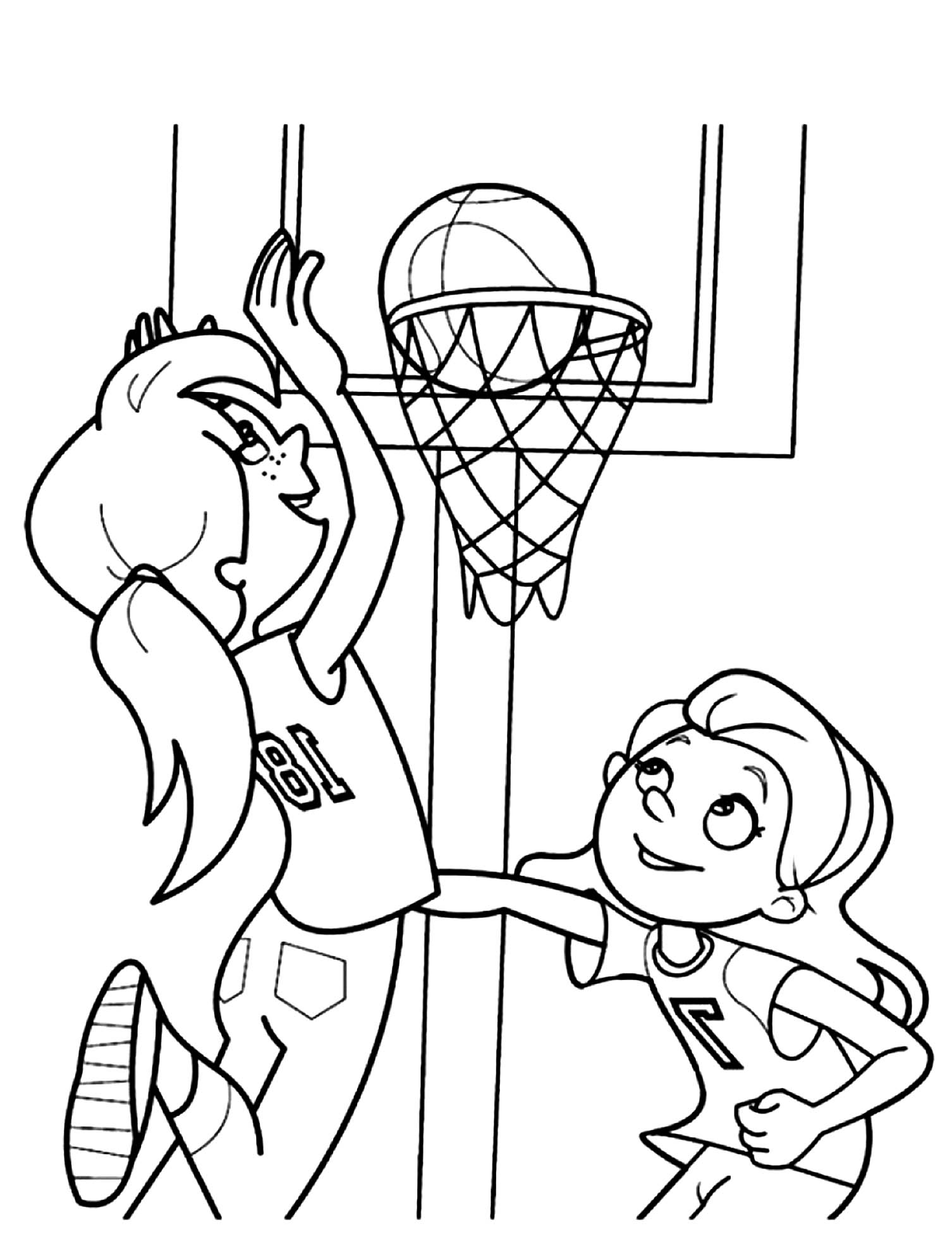 Girls Playing Basketball Coloring Page - Letscolorit.com