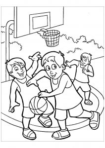 Coloriage enfant basketball 14
