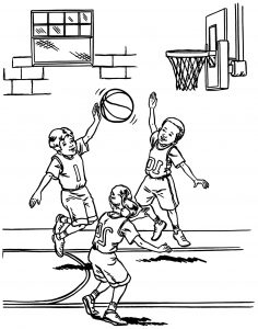 Coloriage enfant basketball 15