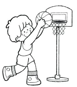 Coloriage enfant basketball 8