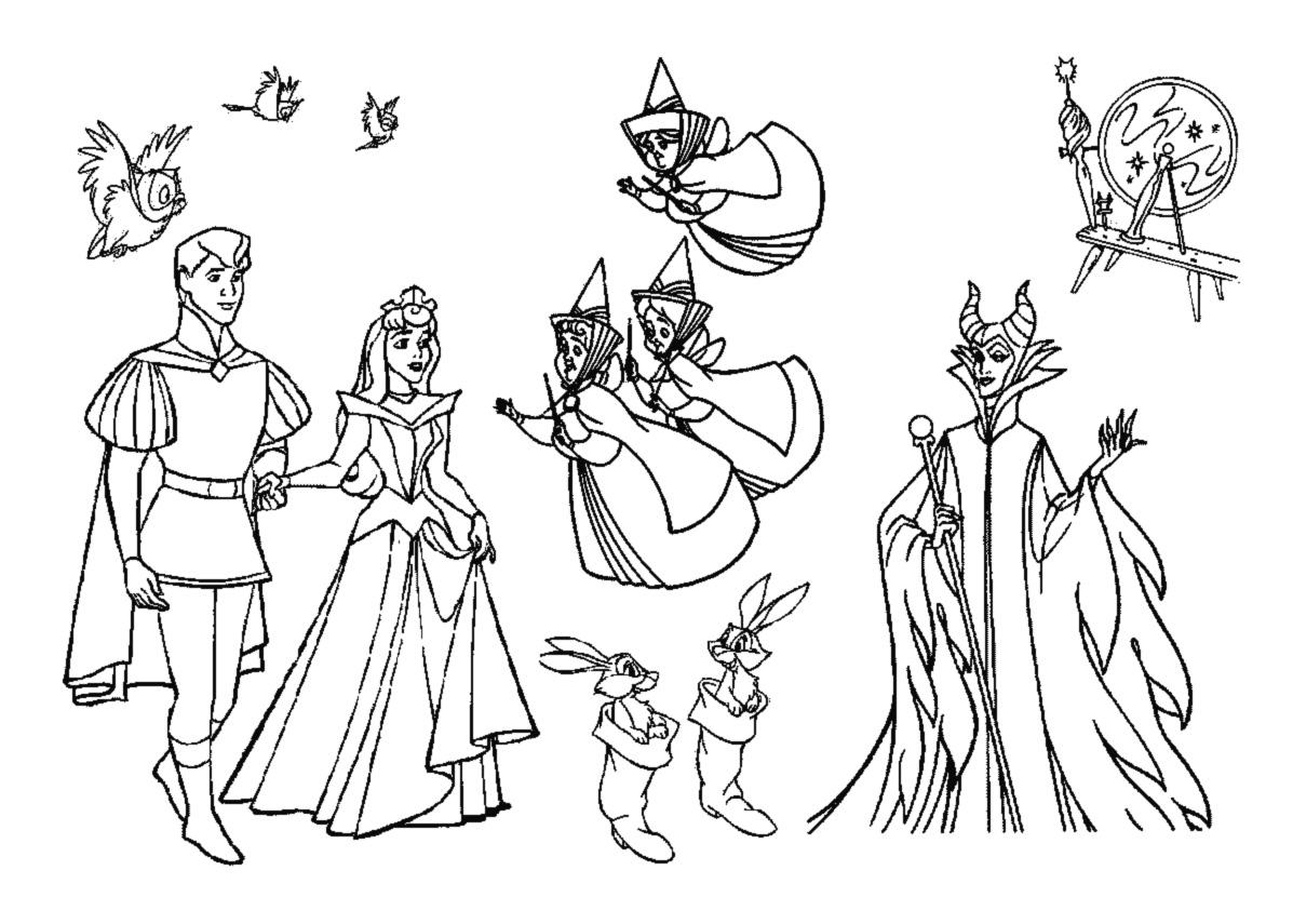 Tous les personnages réunis Aurore le prince les fées marraines et la