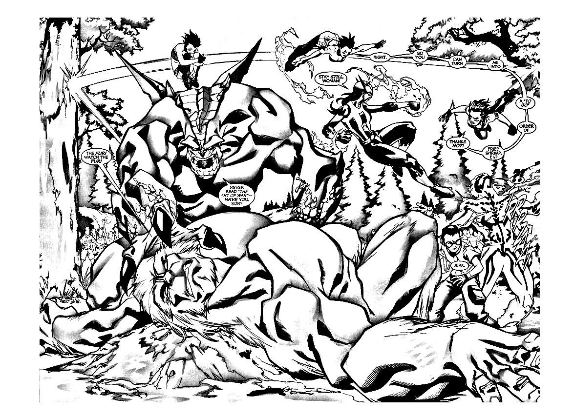 Une scène d'action dans un comic book des 'BH6'