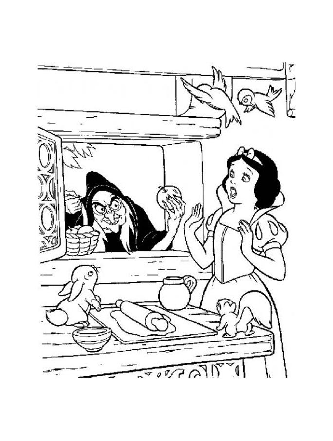 Joli coloriage de Blanche Neige avec la sorcière