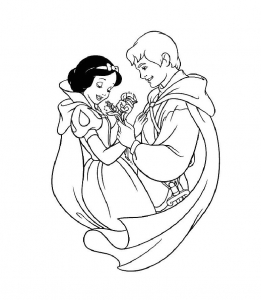 Coloriage blanche neige prince 12
