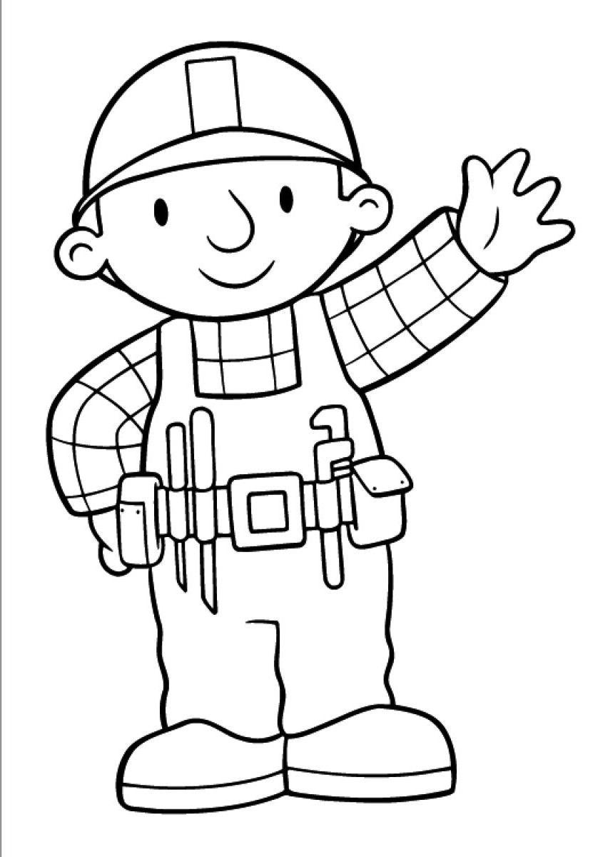 Simple dessin de Bob le bricoleur  colorier