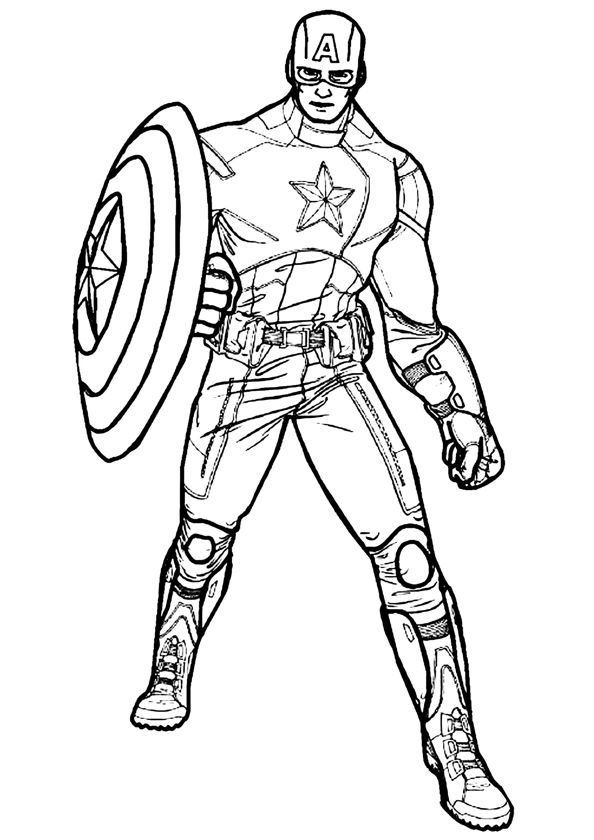 Coloriage de Captain America à imprimer gratuitement ...