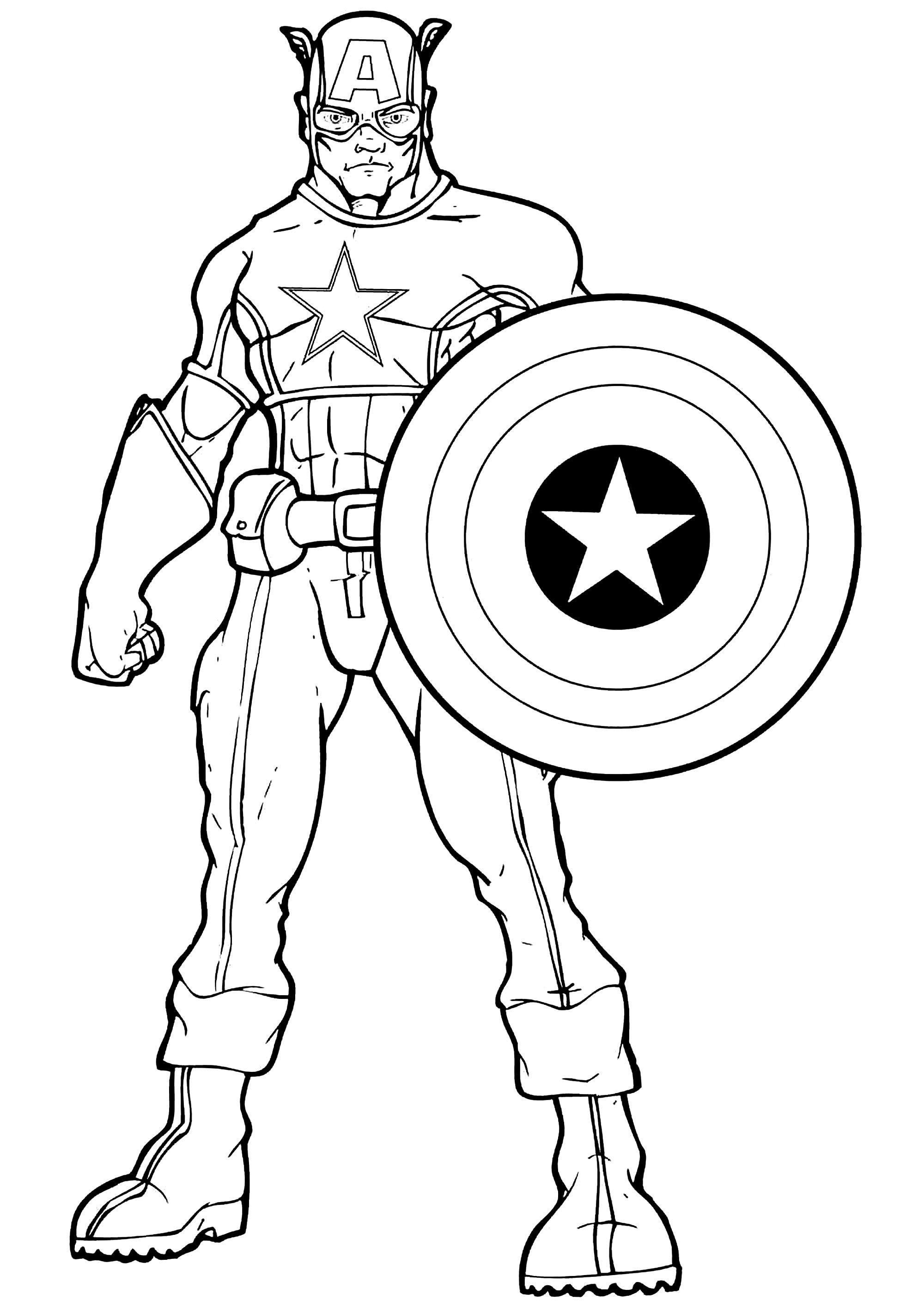 Dessin De Captain America Gratuit A Imprimer Et Colorier Coloriage Captain America Coloriages Pour Enfants